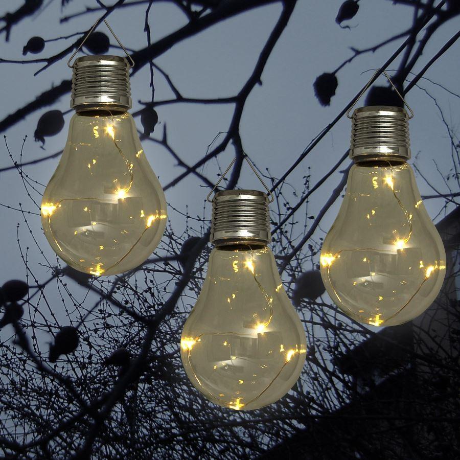Solar-LED-Glühlampen 3er-Set kabellos Glühbirnen Gartendekoration ...