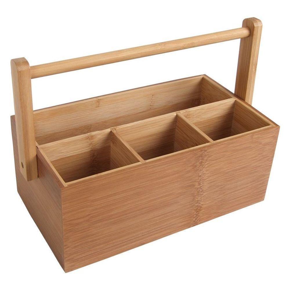 Bambus-Organizer Utensilienbox Stiftebox Besteckkasten Schreibtisch Aufbewahrung – Bild 1