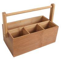 Bambus-Organizer Utensilienbox Stiftebox Besteckkasten Schreibtisch Aufbewahrung 001