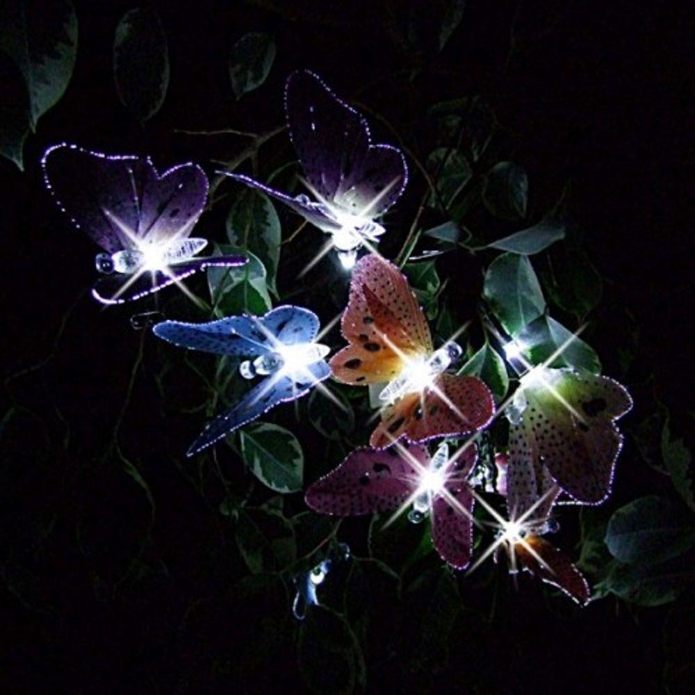Solar LED-Lichterkette 10 Schmetterlinge Gartendekoration Beleuchtung 180cm  – Bild 2
