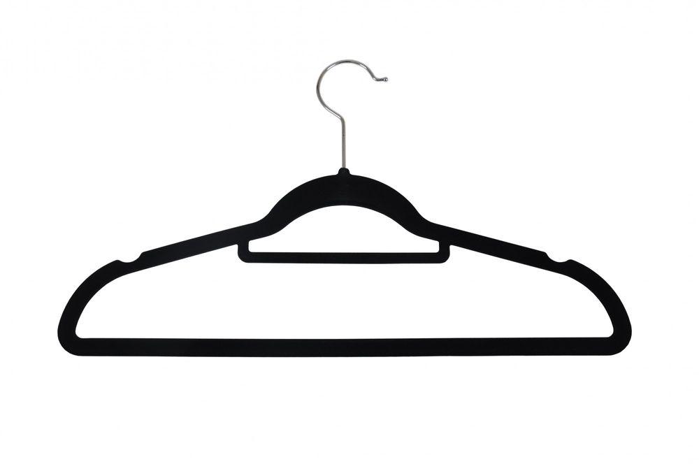 100er Set rutschfeste Kleiderbügel Samt-Bezug beflockt Hosenbügel Platzsparend – Bild 2