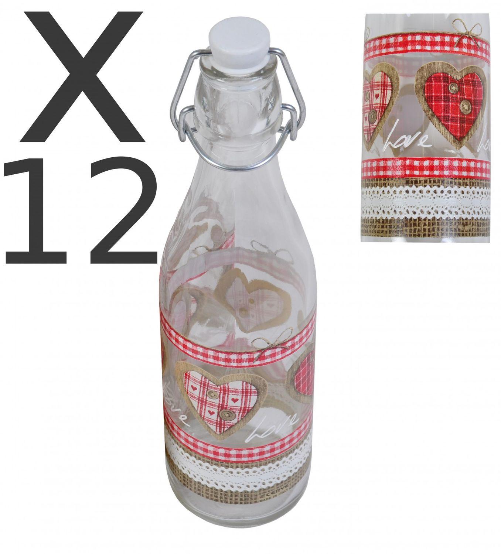 12er Set Glasflasche Mit Bugelverschluss 1 Liter Love Wasserflasche