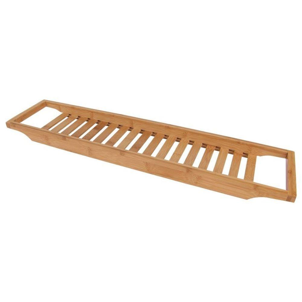 Bambus-Badewannentablett 64x15cm Wannenaufsatz Holz Ablage Baddeko Wannenbrücke – Bild 1