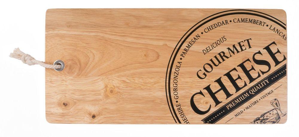 Holzbrett mit Stempeldruck 42x20cm Käsebrett Dekobrett Schneidebrett Küchenbrett – Bild 3