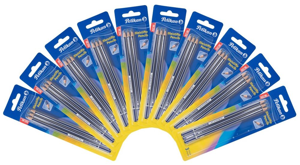 10x Pelikan 3er Bleistifte Härtegrad B Bruchstabil Zeichenstift Schul-Malstifte – Bild 1