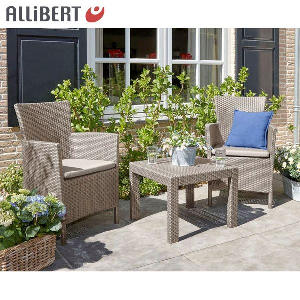 allibert balkon sitzgruppe utah cappuccino balcony furniture rattan garden ebay. Black Bedroom Furniture Sets. Home Design Ideas