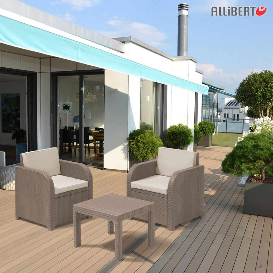 allibert balkon sitzgruppe cappuccino mississippi balkonm bel gartenm bel rattan garten m bel. Black Bedroom Furniture Sets. Home Design Ideas