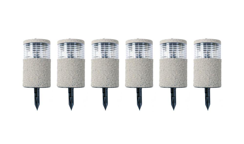 6x LED-Solarlampe Steinoptik 19x11cm Gartenlampe Dekolicht Wegeleuchte Erdspieß – Bild 1