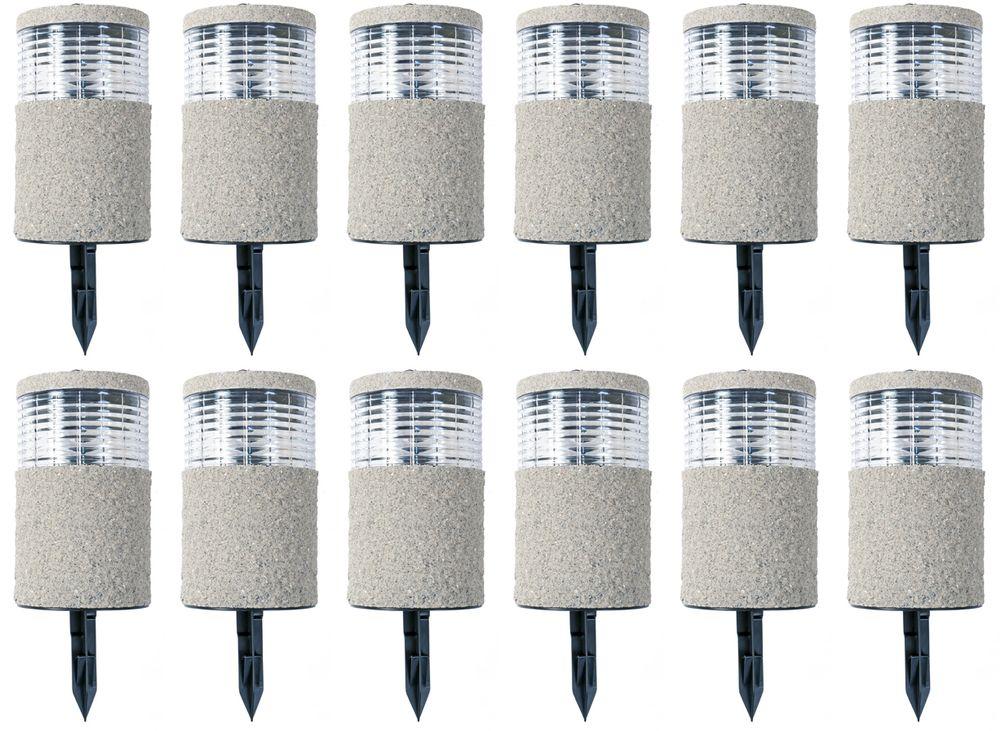 12x LED-Solarlampe Steinoptik 19x11cm Gartenlampe Dekolicht Wegeleuchte Erdspieß – Bild 1