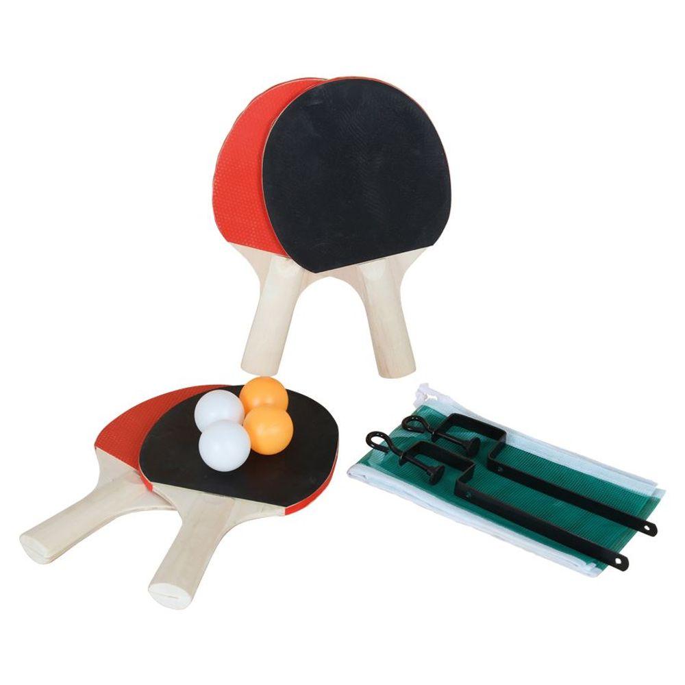 9-tlg.Tischtennis-Set Netz+Halterung Tischtennisball Holzschläger Tennisschläger – Bild 1