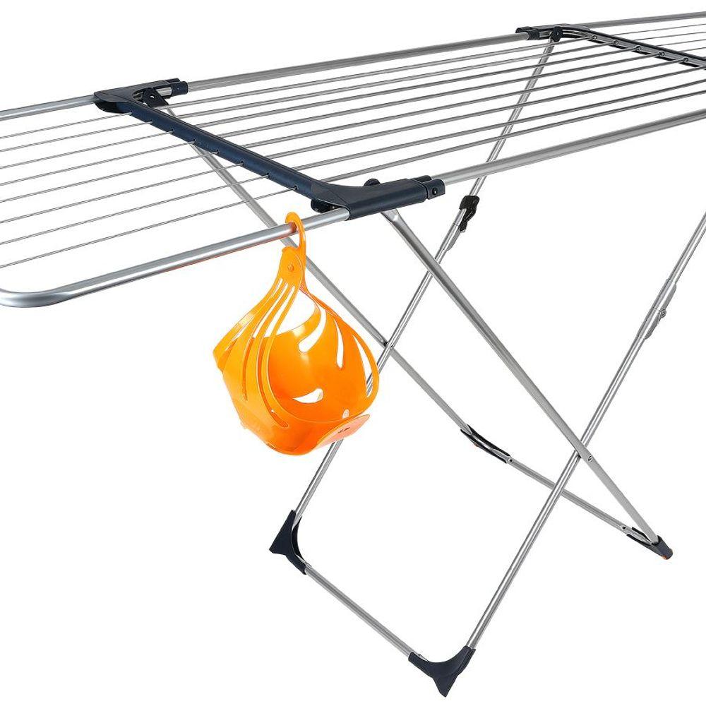 Flügel-Wäscheständer 20m klappbar +Klammerkorb Wäschetrockner Wäscheleine Metall – Bild 2