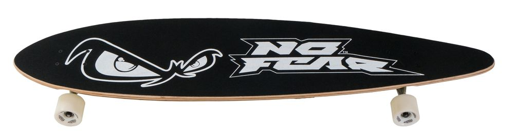 NO FEAR Longboard 112x26cm Funboard Skateboard Surfboard Holzboard Big Wheels  – Bild 2