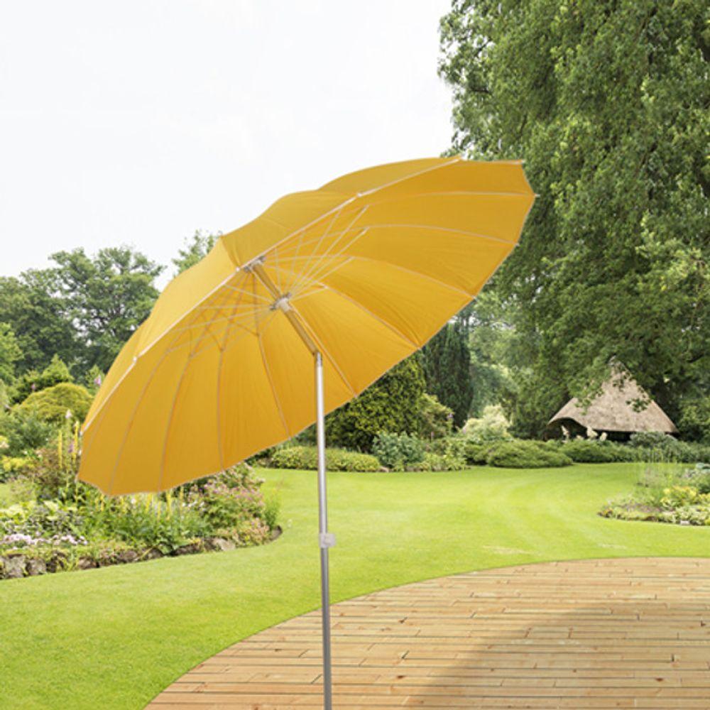 Alu-Sonnenschirm mit Knickgelenk 215cm + Tasche Strandschirm Gartenschirm Balkon – Bild 3