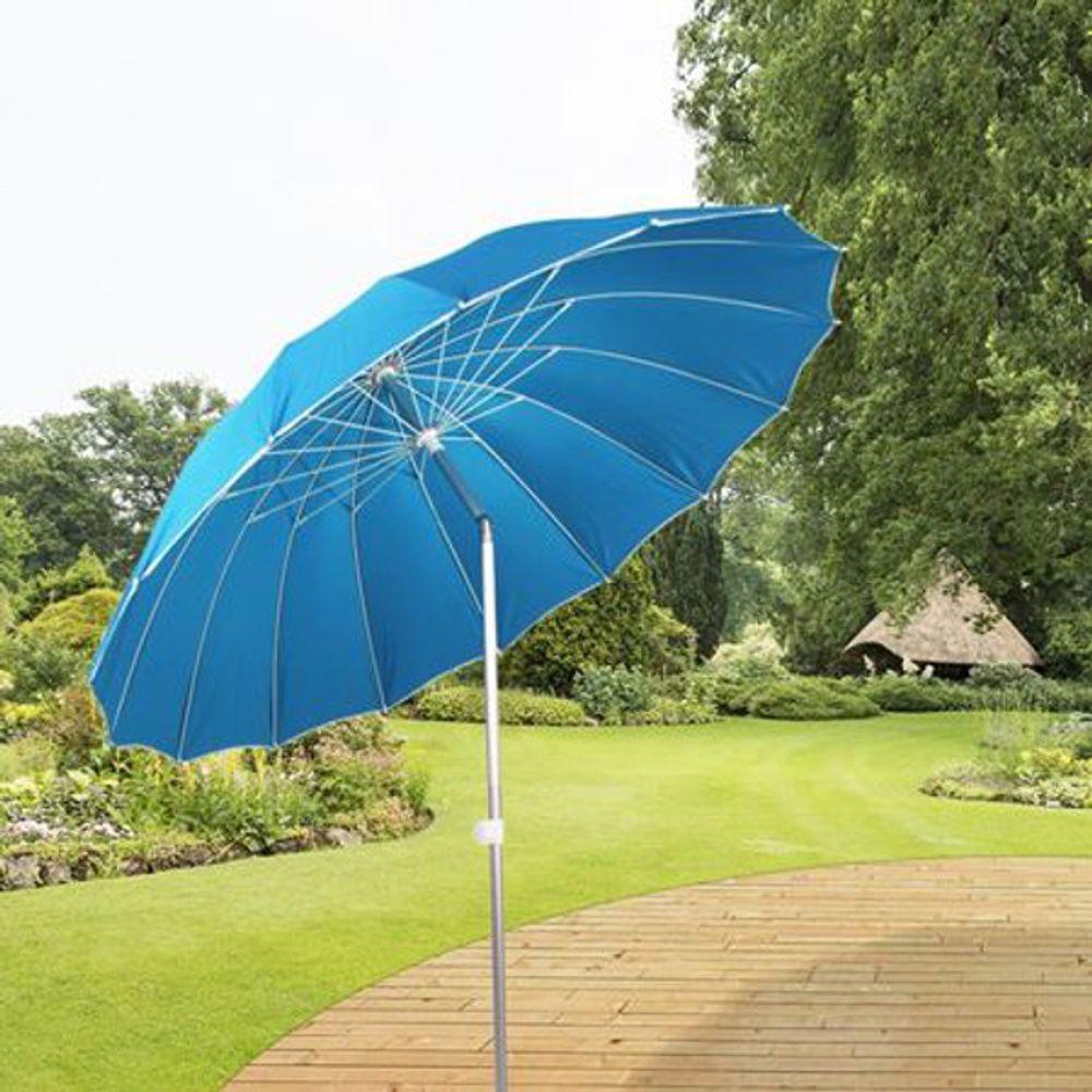 Alu-Sonnenschirm mit Knickgelenk 215cm + Tasche Strandschirm Gartenschirm Balkon – Bild 6