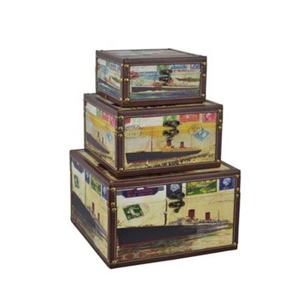3er-Set Deko-Holzboxen Canvas-Design Holztruhe Kiste Kofferset Aufbewahrungsbox