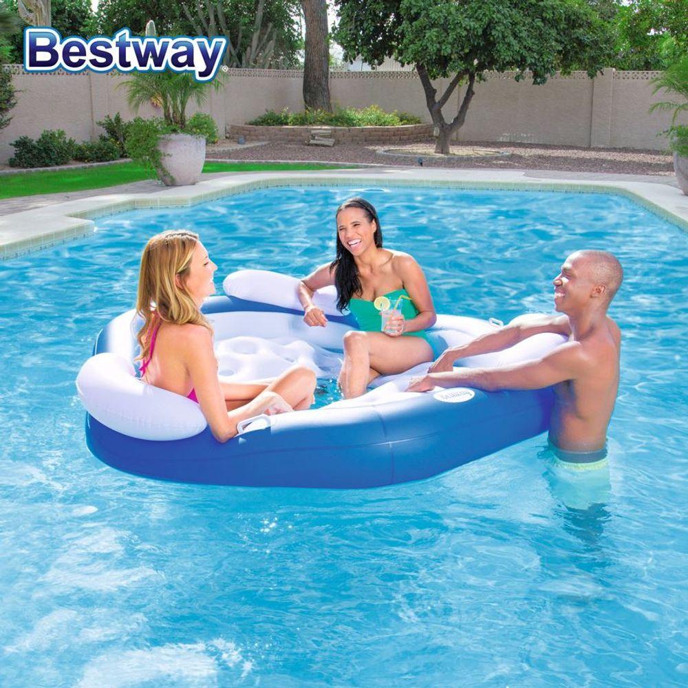 Bestway CoolerZ Badeinsel X3 3 Pers. Luftmatratze Schwimminsel Liege Pool Relax – Bild 1