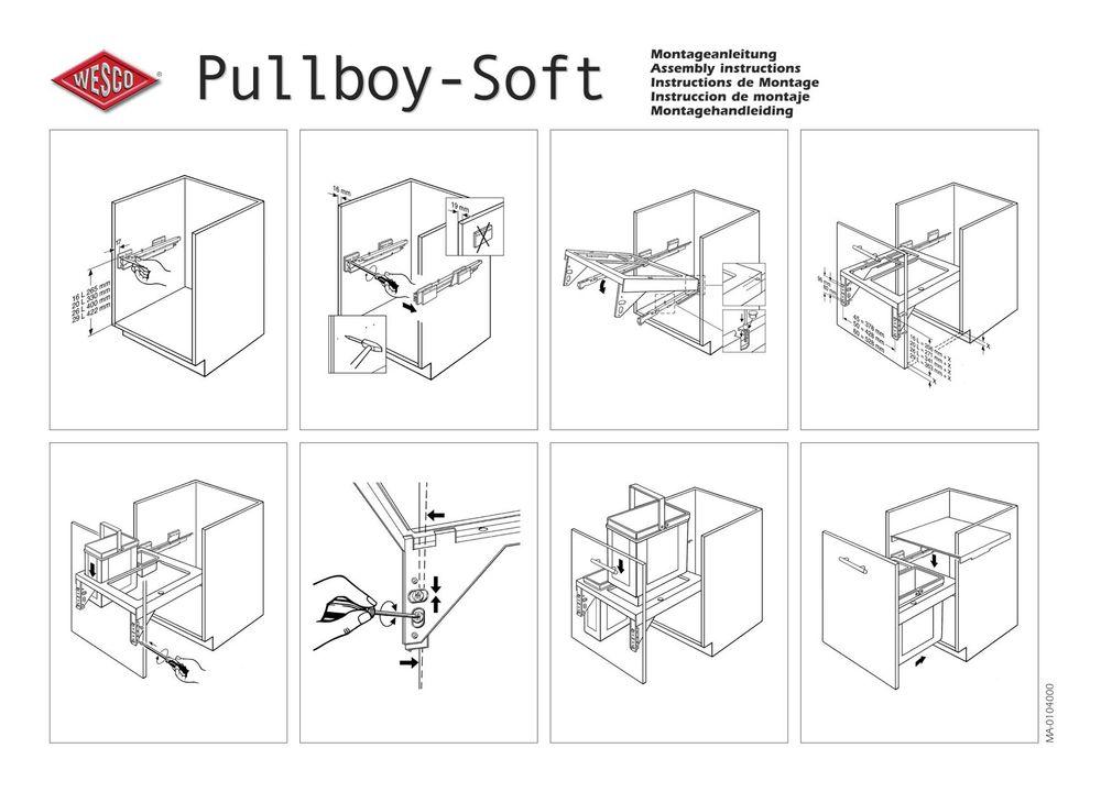Wesco Pullboy Soft 45 Einbau Abfallsammler 16 Liter Müll Abfall Eimer Auszug neu – Bild 2