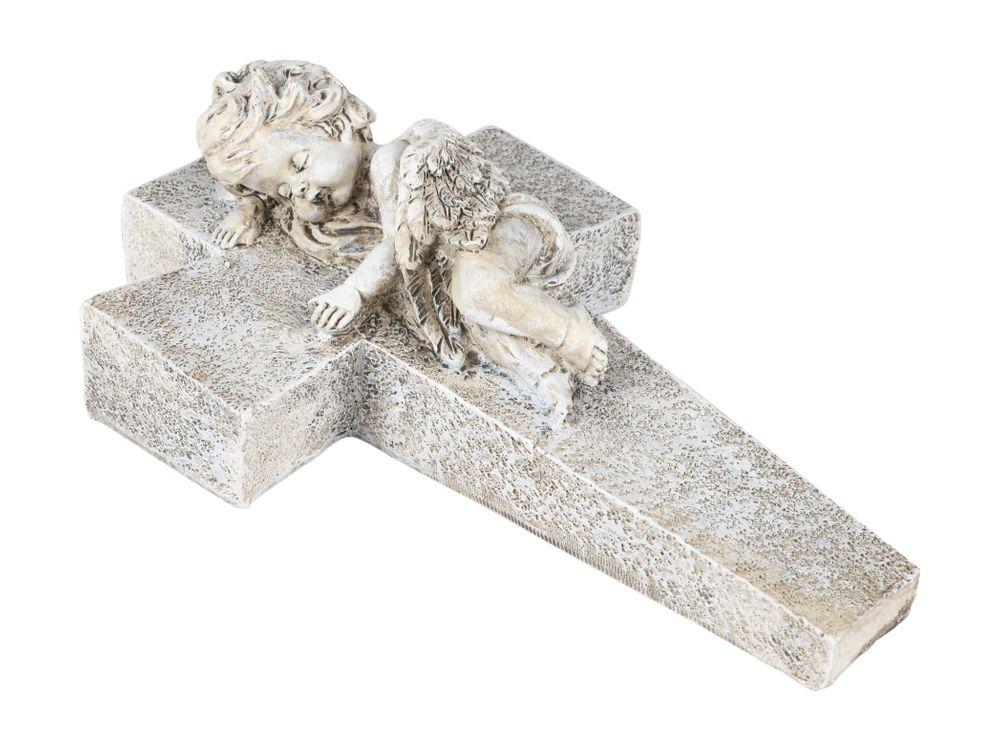 Engel auf Kreuz 24cm Engelsfigur Gartendeko Grabschmuck Schutzengel Dekoengel  – Bild 1