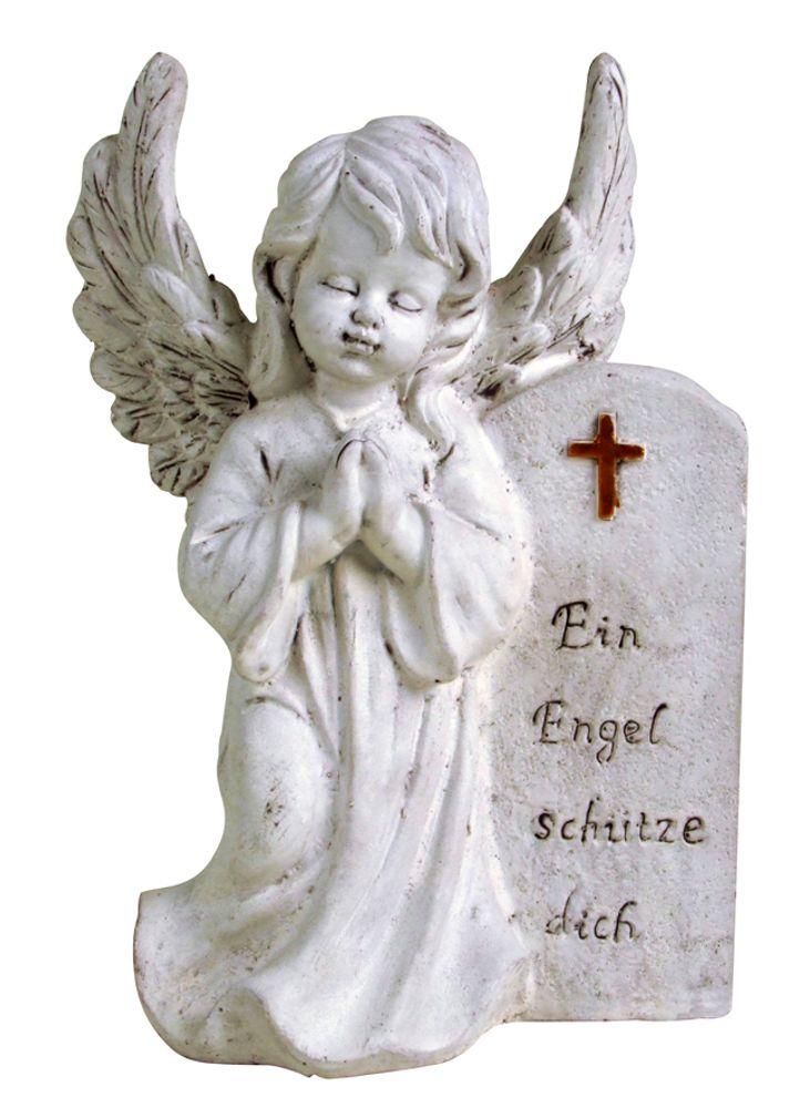 Grab-Spruchstein Engel mit Flügeln Höhe 28cm Dekoration Figur Schmuck Garten