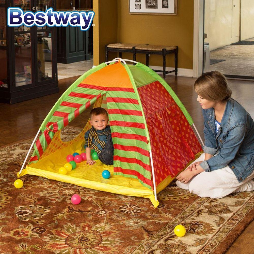 Bestway Spielzelt mit 40 bunte Bälle Kinder-Haus Fang Wurf In- Outdoor Motorik  – Bild 1