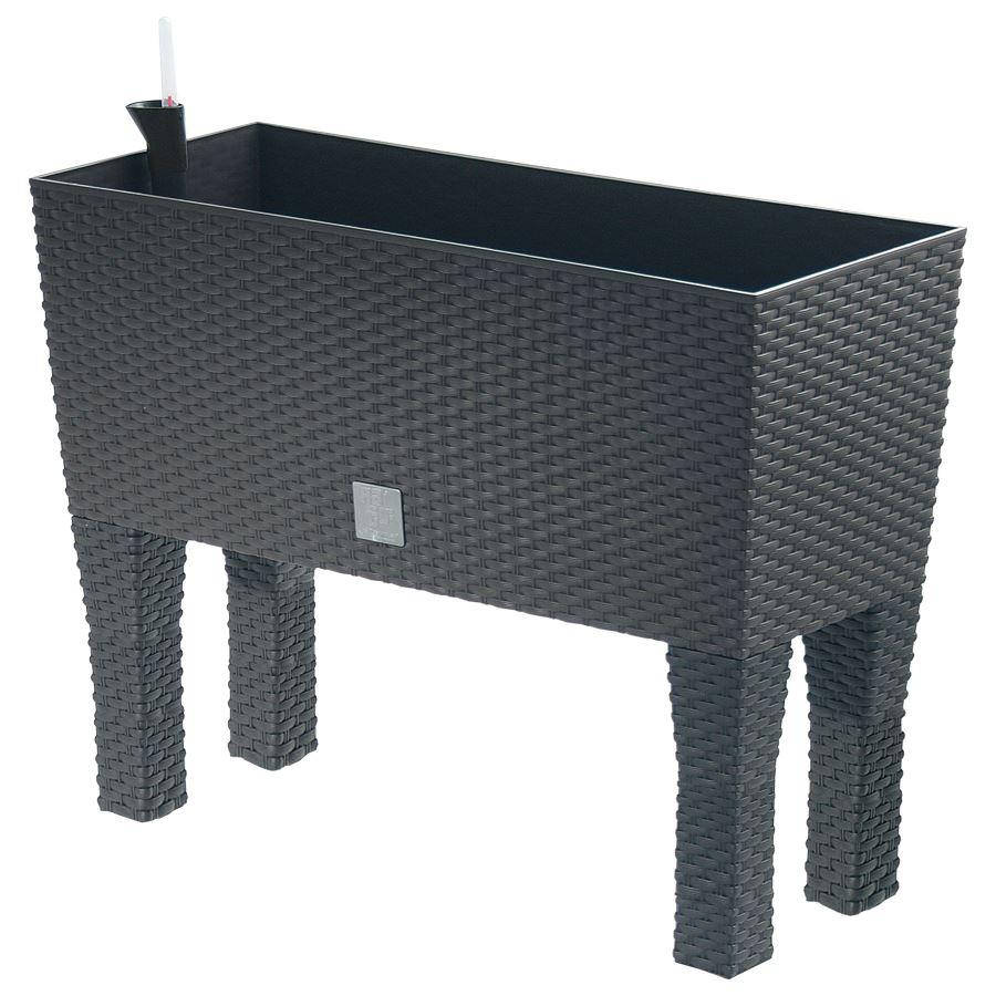 polyrattan blumenbank mit bew sserung 80x32cm anthrazit pflanzkasten balkon topf m bel wohnen. Black Bedroom Furniture Sets. Home Design Ideas