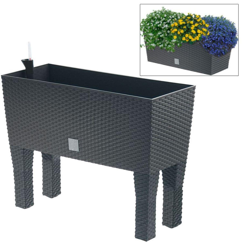 Polyrattan Blumenbank Mit Bewasserung 80x32cm Anthrazit Pflanzkasten