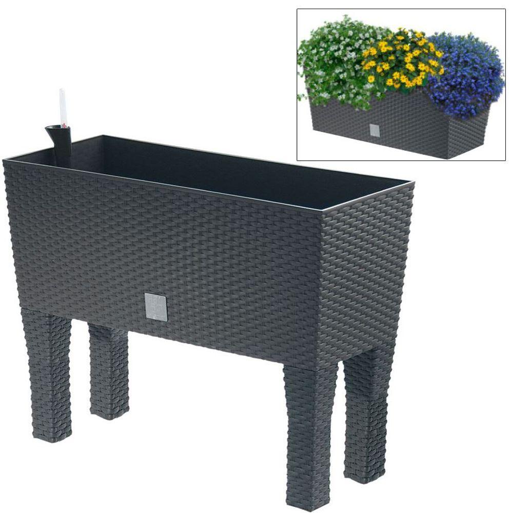 Polyrattan-Blumenbank mit Bewässerung 80x32cm Anthrazit Pflanzkasten Balkon Topf – Bild 1
