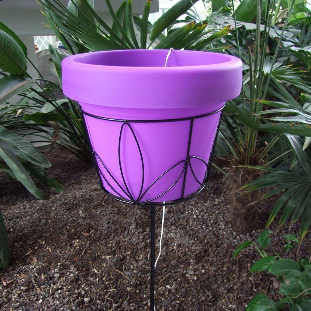 Solar LED Blumentopf 30cm auf Metallständer Pflanztopf Blumenständer Gartendeko  – Bild 10