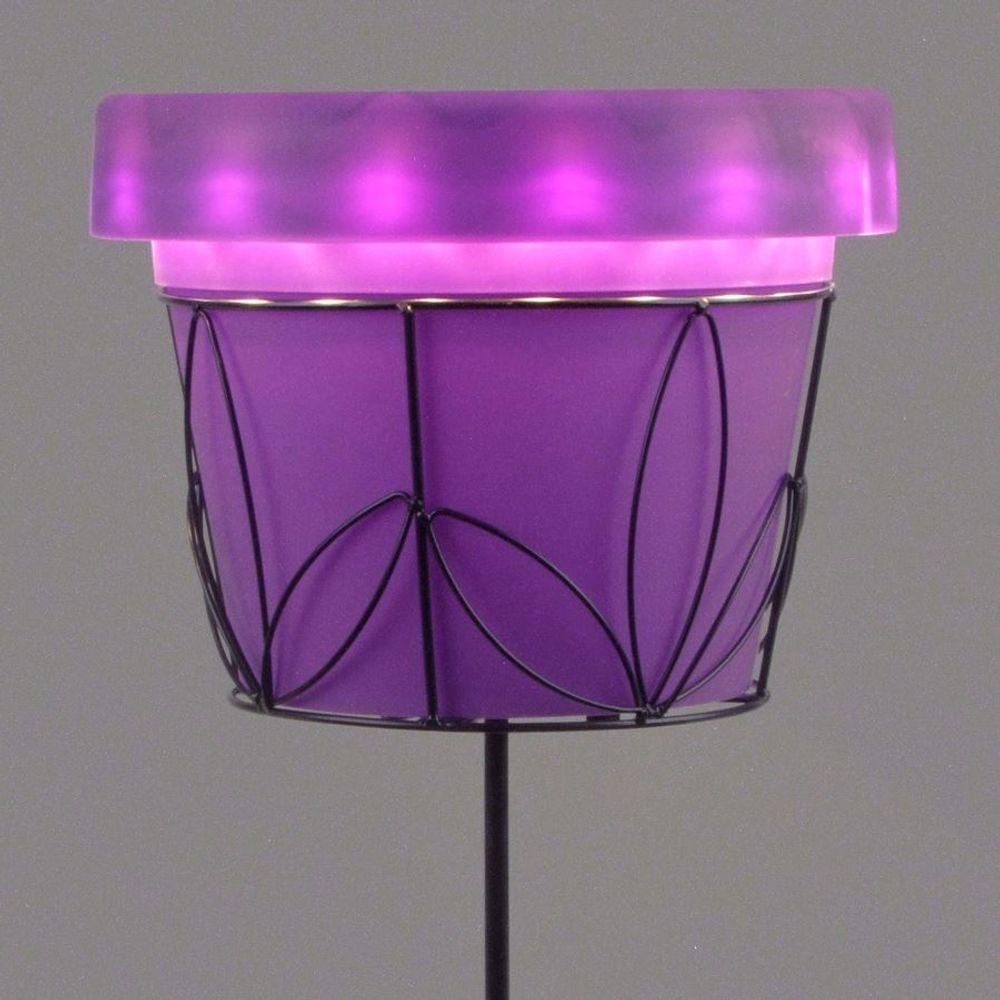 Solar LED Blumentopf 30cm auf Metallständer Pflanztopf Blumenständer Gartendeko  – Bild 5