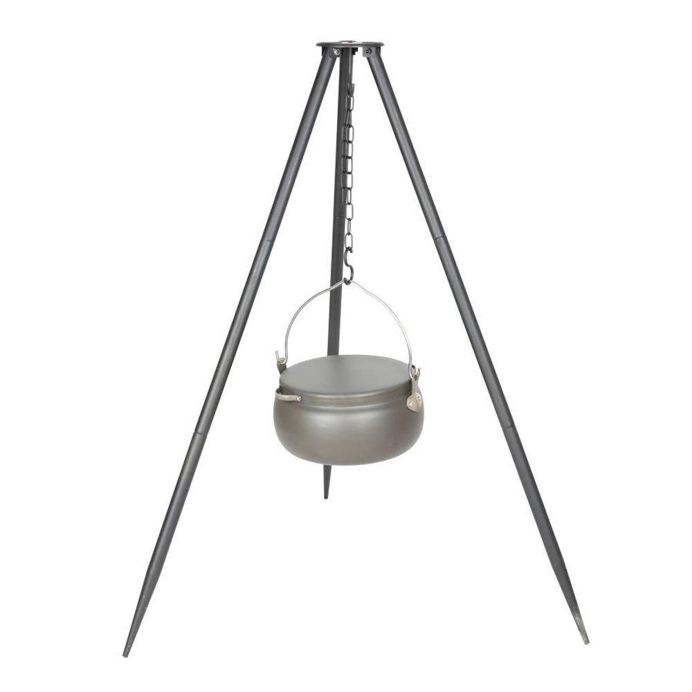 Dreibein Gulaschtopf Metallgestell Alutopf Deckel 6L Kesselgulasch Lagerfeuer – Bild 2