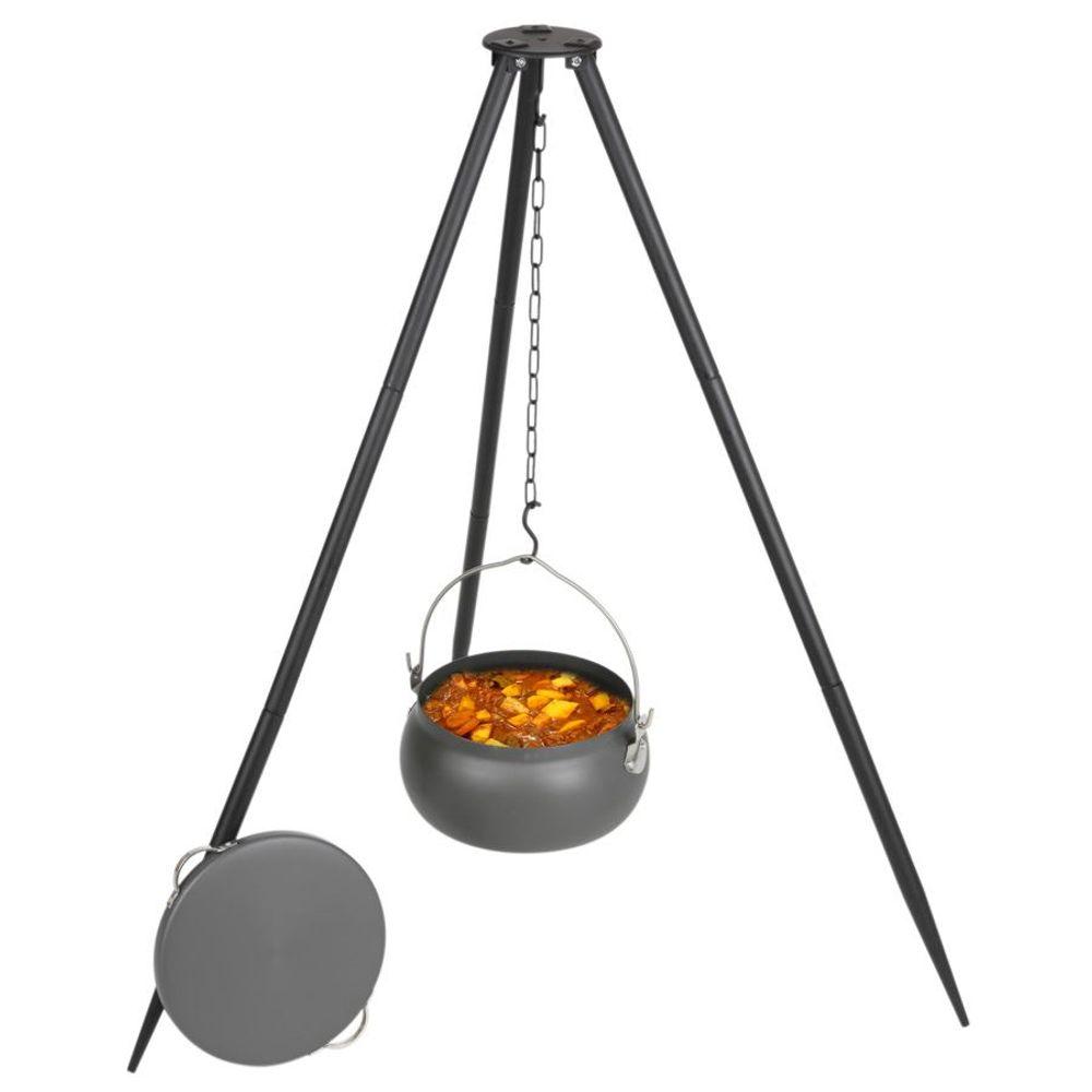 Dreibein Gulaschtopf Metallgestell Alutopf Deckel 6L Kesselgulasch Lagerfeuer – Bild 1