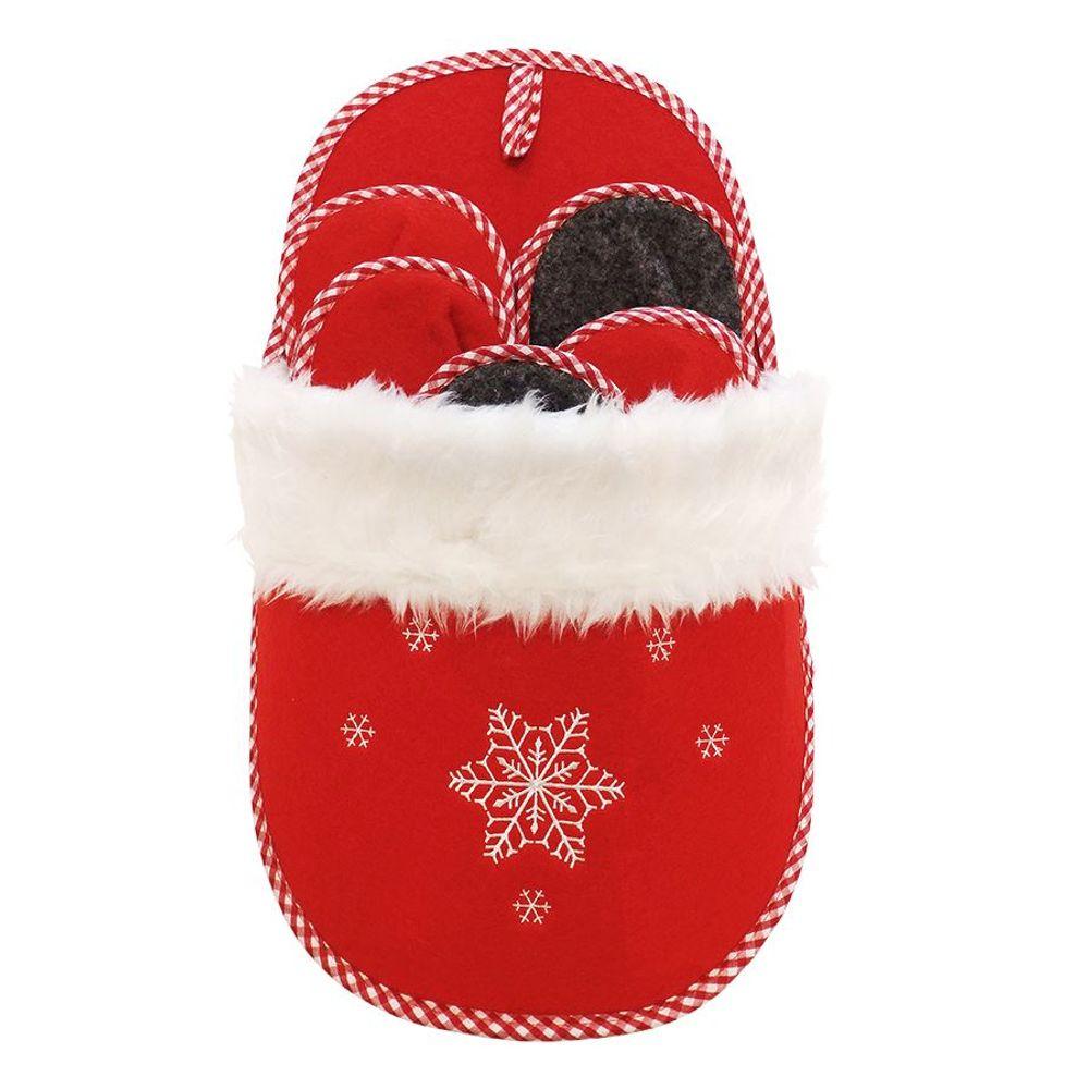 Weihnachts- Gästepantoffel - Set 5 Paar Hausschuhe Filz Rot/ Grau Schlaufe Wand – Bild 1