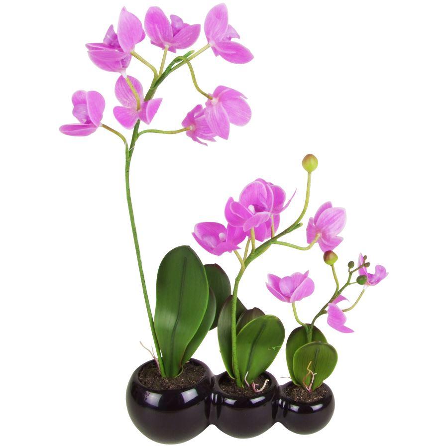 k nstliche orchidee 43cm im keramiktopf kunstpflanze zimmerpflanze dekopflanze m bel wohnen. Black Bedroom Furniture Sets. Home Design Ideas