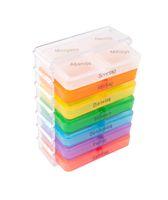 7 Tage Pillenbox Medikamentenbox Tablettenbox Pillendose Pillenturm Spender bunt 001