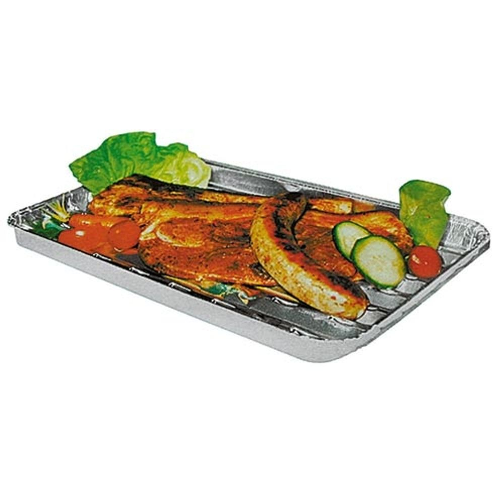 5er Set Aluminium - Grillpfannen Schale Rost Gemüse Fleisch Fisch Käse Backofen – Bild 2