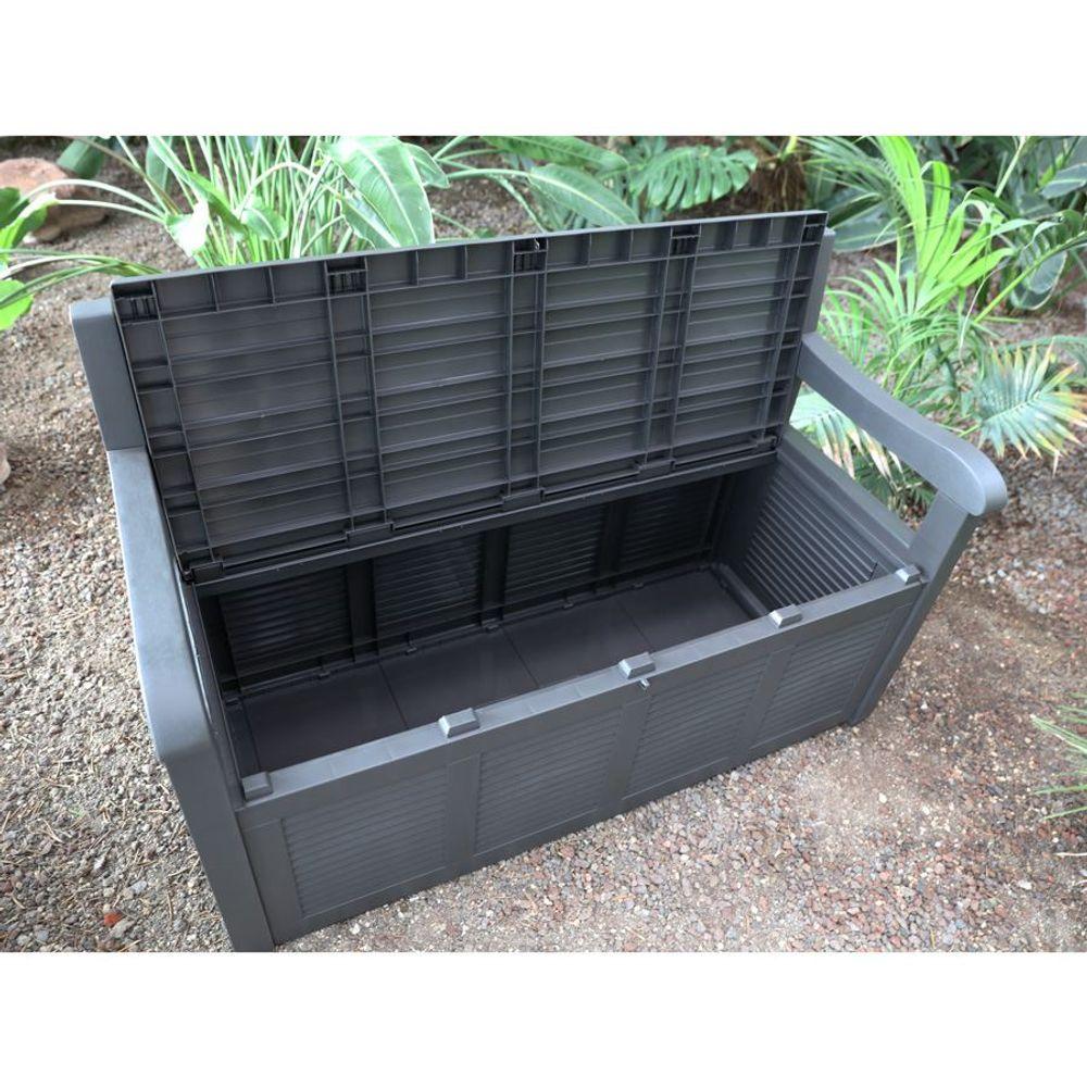 2-Sitzer Gartenbank mit Aufbewahrungsbox Kissentruhe Auflagenbox Polstertruhe – Bild 6