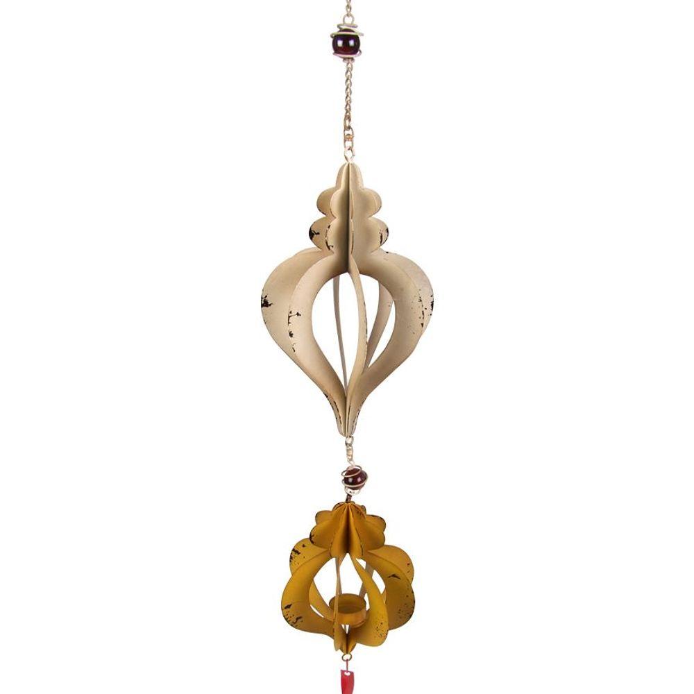 Windspiel zum Aufhängen mit Teelichthalter Metall 15x98 cm Glasperlen Kerze Deko – Bild 2