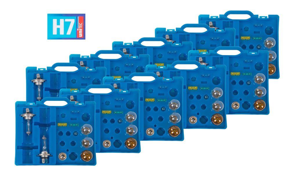 10x Auto-Ersatzlampen-Koffer H7 Scheinwerfer Bremslicht Blinklicht Rücklicht  – Bild 1
