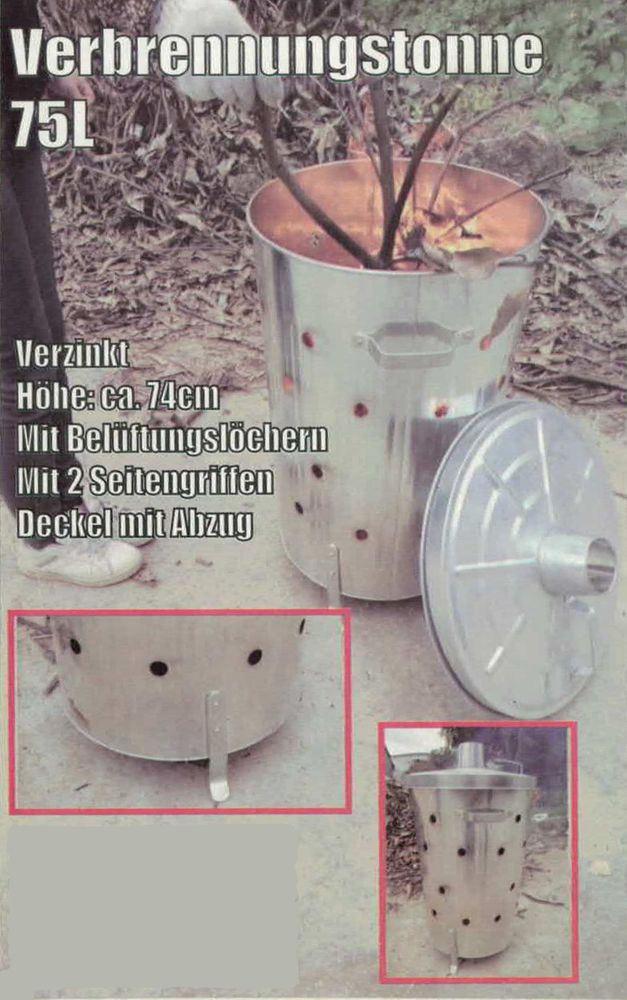 Feuertonne 75ltr für Gartenabfälle Brennofen Verbrennungstonne Feuerstelle Ofen