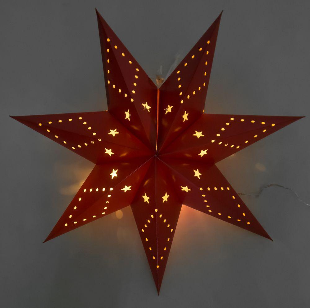 LED-Papierstern 45cm faltbar Weihnachtsstern Adventstern Leuchtstern Fensterdeko – Bild 3