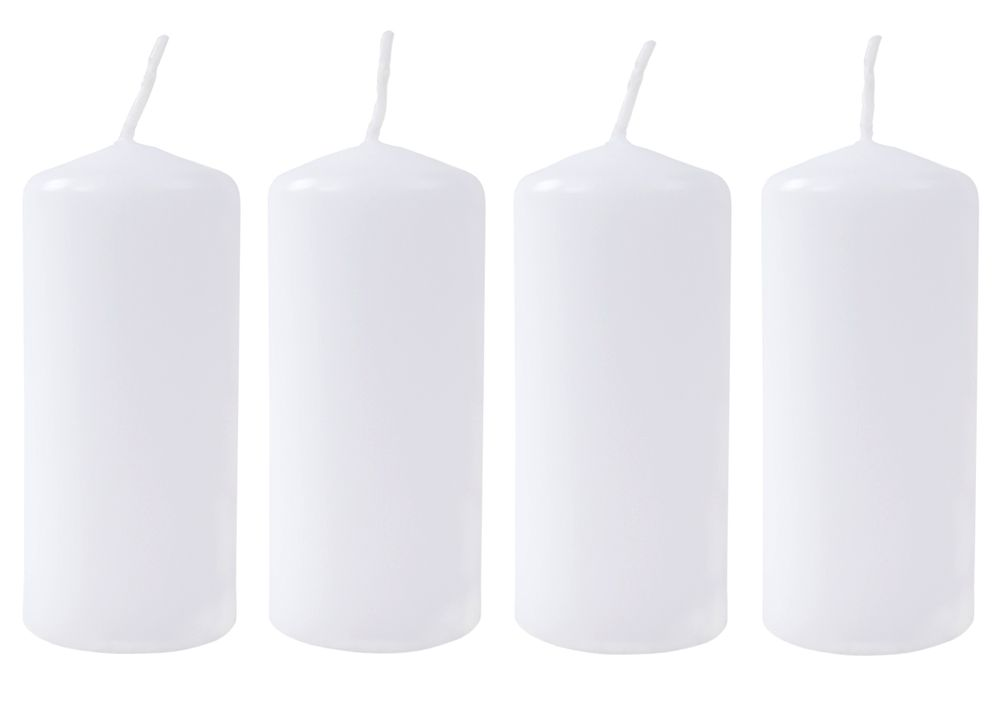 4er-Set Adventskranzkerzen 40x90mm weiß Weihnachtskerze Stumpenkerze Wachskerze  – Bild 1