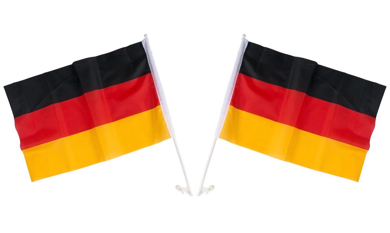2x Auto Deutschland Fahne 45x30cm Autofahne Flagge Wimpel Fußball