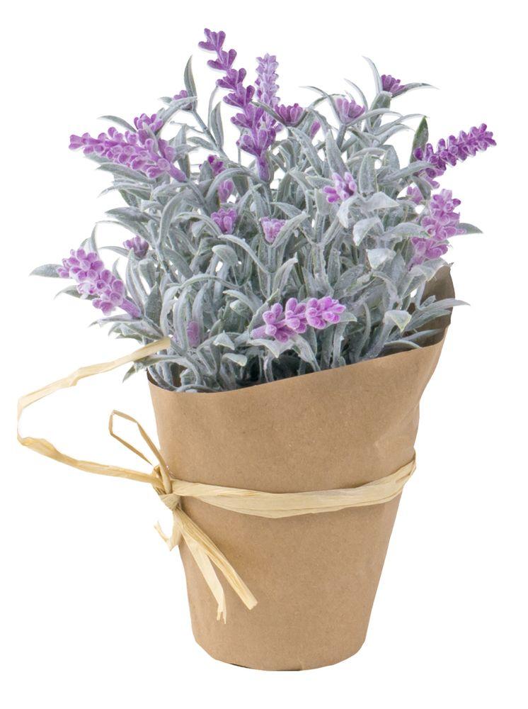 Künstlicher Lavendel im Papiertopf 22cm Kunstblume Kunstpflanze Lavendelbusch – Bild 4