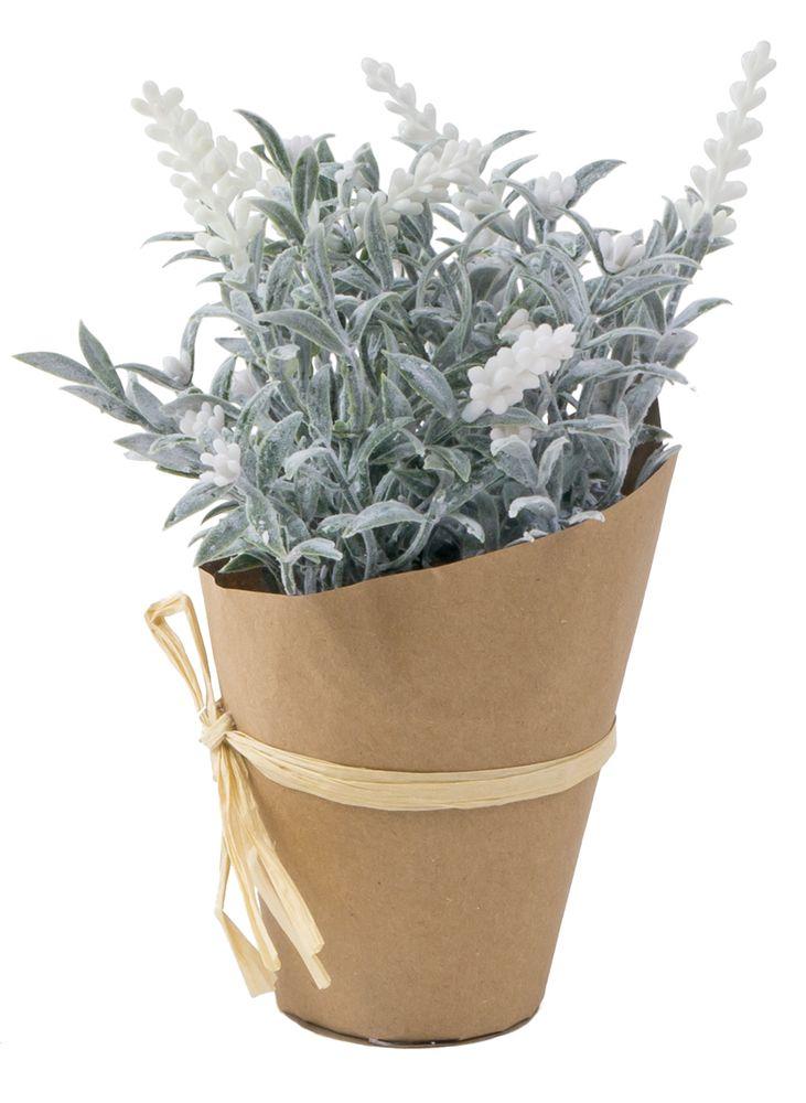 Künstlicher Lavendel im Papiertopf 22cm Kunstblume Kunstpflanze Lavendelbusch – Bild 2