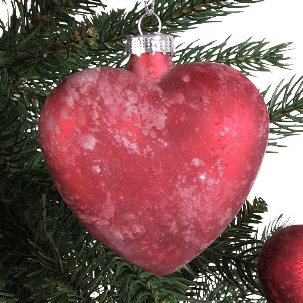 Glas-Weihnachtsbaum-Anhänger 2 Stück Herz Stern Christbaumschmuck Adventsdeko – Bild 2
