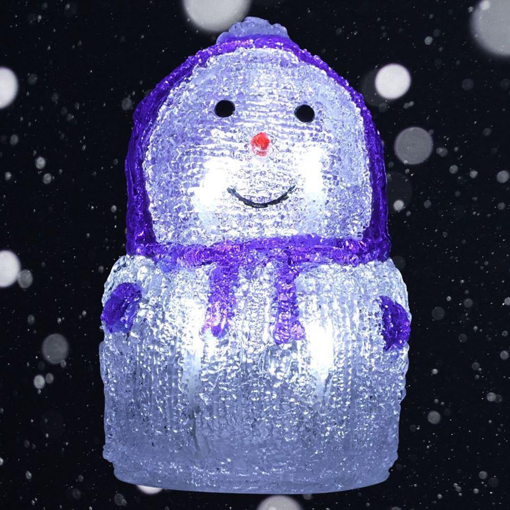 LED-Acryl-Schneemann 16x11cm Winterdeko Weihnachtsdeko Weihnachtsfigur Dekofigur – Bild 2