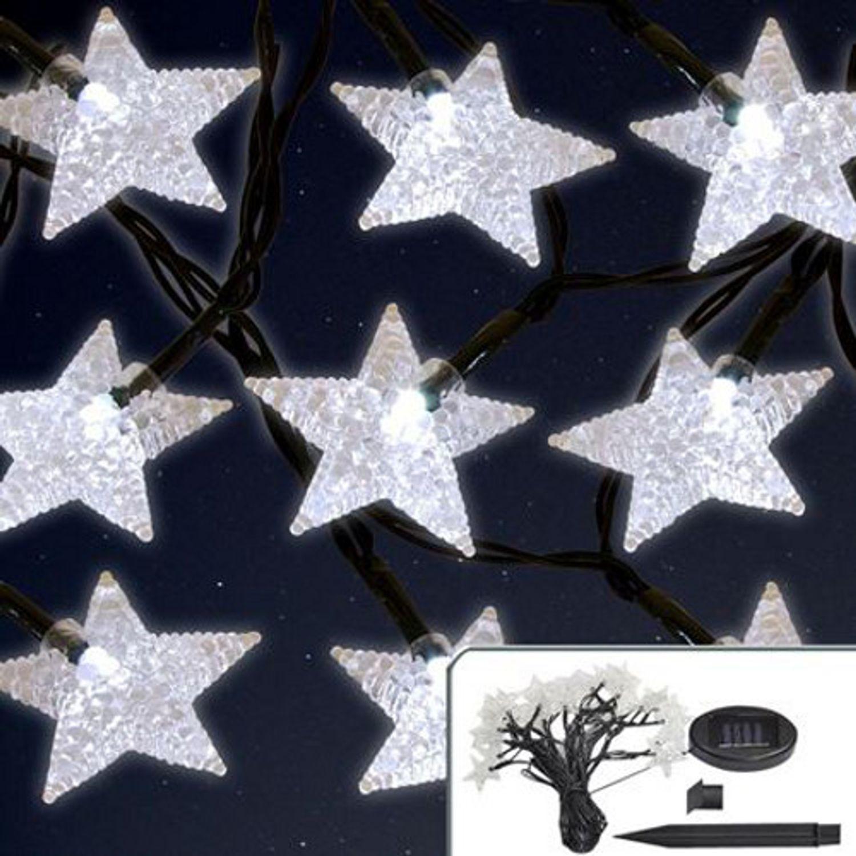 Solar Weihnachtsbeleuchtung.Solar Led Lichterkette Sterne 6 7m Mit Blinkfunktion Weihnachtsbeleuchtung Deko