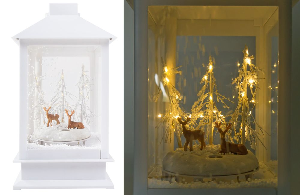LED-Laterne schneiender Winterwald Weihnachtsdeko Fensterdeko Tanne Rehe Hirsche – Bild 5