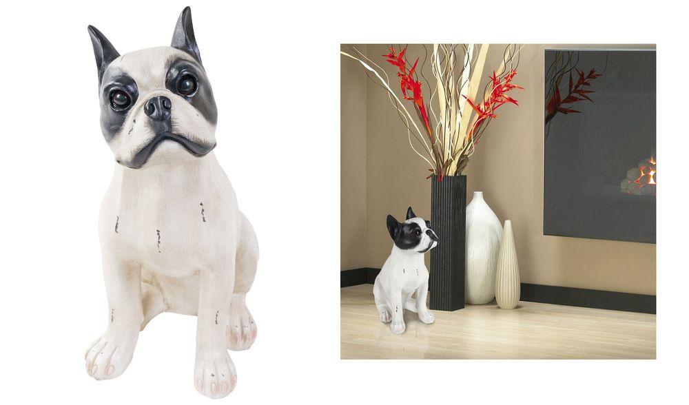 Französische Bulldogge 38cm Tierfigur Hund Dekofigur Wachhund Dog French Bulldog – Bild 1