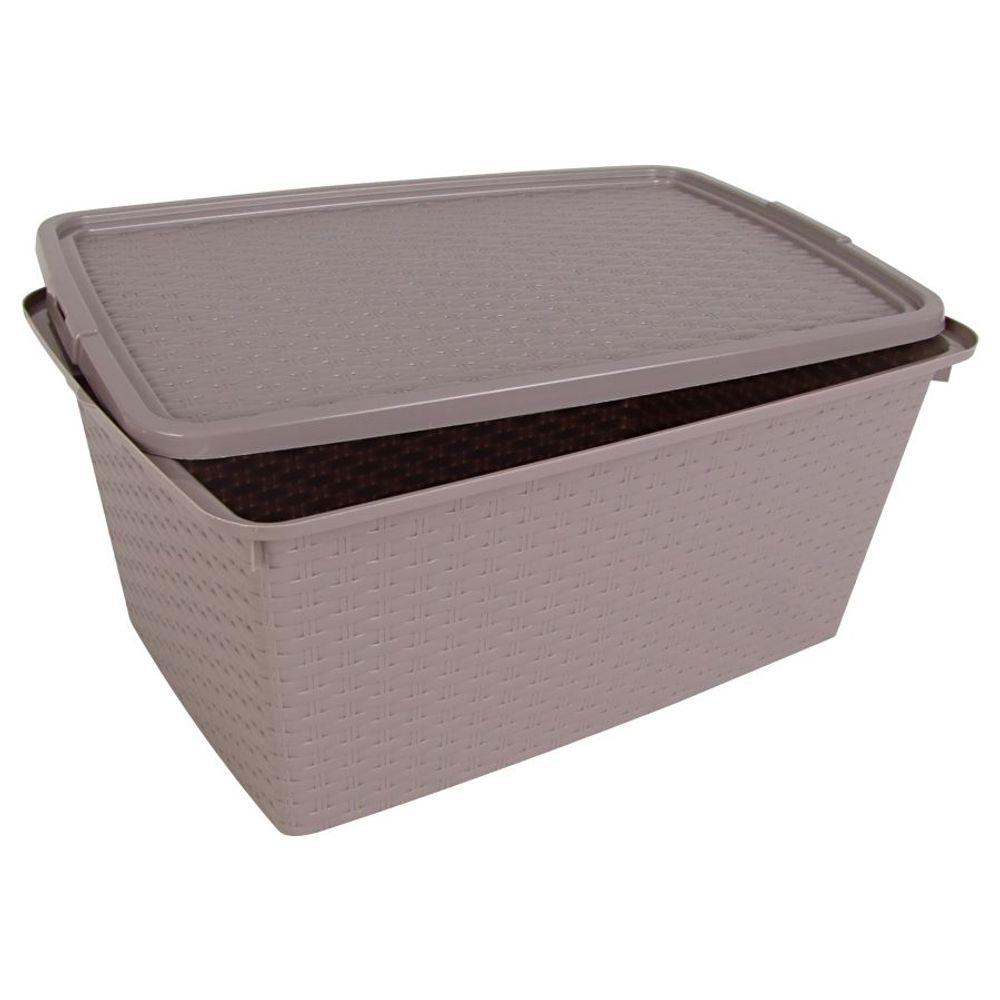 Aufbewahrungsbox 40 L Rattanoptik Dekobox Aufbewahrungskiste Allzweckbox Kiste – Bild 2